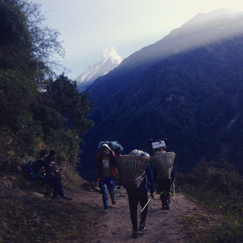 Porteurs sur l'Himalaya